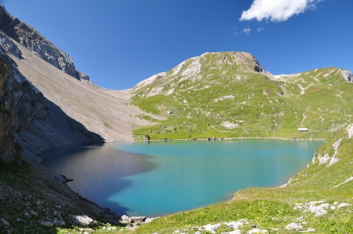 The alpine Lake Iffigsee (2065 m asl.) in the Swiss Alps